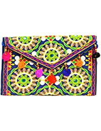 Art Godaam Hand Stiched Cotton Embroidery Clutch - B07CP32662