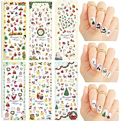 Christmas New Year Theme Nail Art Decal Water Slide Tattoo Transfer - Santa, Reindeer, Snowflakes & Many More - Pack of 6 by La Demoiselle - Water Slide Transfer