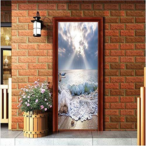Newberli Romantik Sonnenschein Skyrim Und Meer Landschaft Tür Aufkleber Für Küche Wohnzimmer Kühlschrank Dekoration Wand Wohnkultur