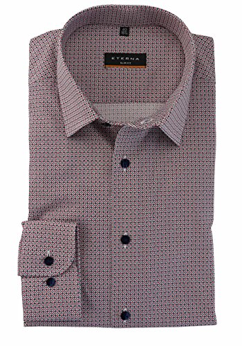 Eterna long sleeve Shirt SLIM FIT Stretch printed Blu/Rosso