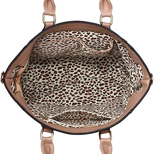 Leesun London Damen Kunstleder Handtaschen Große Drei Fächern Frauen Designer Taschen Tote Schulter Taschen H - Nude