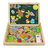 Holzspielzeug,Magnetische Holzpuzzle Mit Holzkiste für tragen,Puzzle aus Holz,Tolles Geschenk für Junge Mädchen Kleinkinder ab 3 Jahre