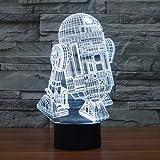 XANXUS VISION® Star Wars-LED-Lampe (visueller 3D-Effekt) für Kinder, USB-Tischlampe, geeignet als Nachtlicht, mit USB-Port und Touch-Funktion, R2-D2