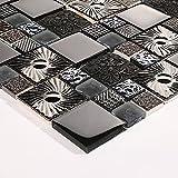 10cm x 10cm Muster. Mosaik Fliesen Muster in glänzendem und texturiert Schwarz glas und silber Edelstahl (MT0149 sample)