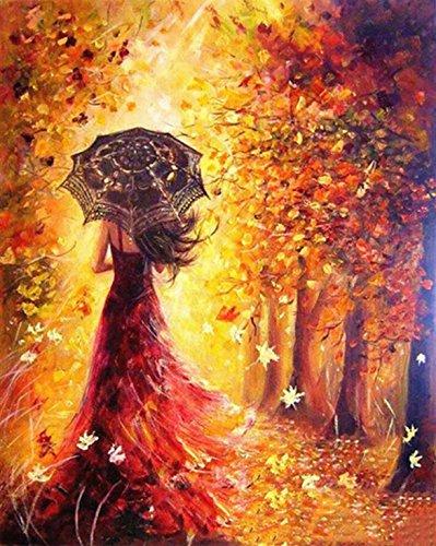 Golden maple DIY Vorgedruckt Leinwand-Ölgemälde Geschenk für Erwachsene Kinder Malen Nach Zahlen Kits Home Haus Dekor - Rotes Kleid Mädchen 40*50 cm