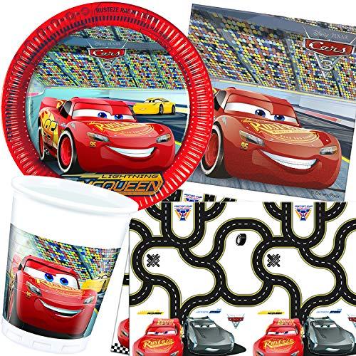G. Party-Set * Cars 3 * mit Teller + Becher + Servietten + Tischdecke | Deko Kinder Geburtstag Motto Disney Auto Rennauto Film Lightning McQueen ()