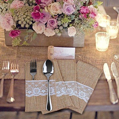 DIS 40 Stück Natur Jute Sackleinen&Lace Rustikales Besteck Messer und Gabeln Besteck Set Halter Party Hochzeit Dekor , 4 x 8 inch (Besteck-set-halter)