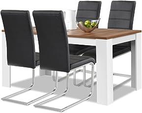 Agionda® Esstisch + Stuhlset : 1 X Esstisch Toledo Nussbaum Und Weiss 140 X  90