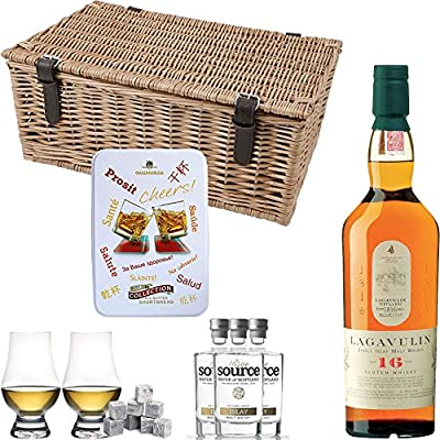 Lagavulin 16 Year Old Single Malt Scotch Whisky Hamper Gift Set With Handcrafted Gifts2Drink Tag