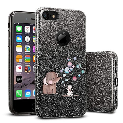 finoo | iPhone SE Schwarze bedruckte Rundum 3 in 1 Glitzer Bling Bling Handy-Hülle | Silikon Schutz-hülle + Glitzer + PP Hülle | Weicher TPU Bumper Case Cover | Katze auf Ast Elefant Hase Seifenblasen