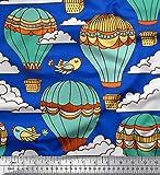 Soimoi Blau Baumwolle Batist Stoff Vogel & Luftballonen