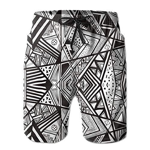 153070f926 Pillowcase shop Black And White Tribal Pattern Men's Water Sports Beach Shorts  Small