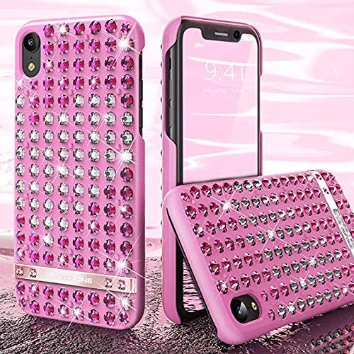 OCYCLONE iPhone XR Handyhülle, Liebesherz Glitzer Bling Diamante Strass Schützhülle für Mädchen Frauen, Glitzer Handyhülle für iPhone XR - Rosa -