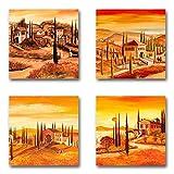 Mia Morro Mediterran Bilder Set B, 4-teiliges Bilder-Set jedes Teil 29x29cm, Seidenmatte Optik auf Forex, moderne schwebende Optik, UV-stabil, wasserfest, Kunstdruck für Büro, Wohnzimmer, Deko Bild