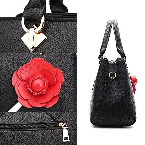 Nero Borse Donna Fiore Messenger Bag Borse in Pelle Tote Borsa Style Borsetta Pink scuro Borsa