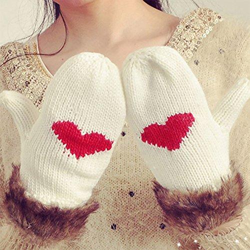 Gestrickte Handschuhe Handschuhe Winter Frauen Verdicken Warm Süße Nette Herzform Weiche Und Komfortable Freien Handschuhe Weiß Warme Handschuhe