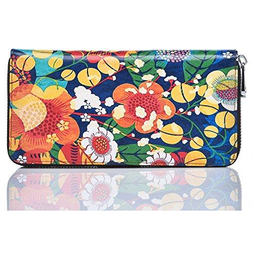 YoMeiJun Donna Portafoglio Di Pelle Lungo Borsa Porta Moneta Borsetta Di Stampa Multicolore Uccelli02 Fiore02