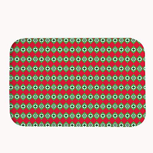 """rioengnakg Pois Verde Motivo sul rosso Super Assorbente antiscivolo tappetino da bagno corallo pile Tappeto Zerbino Ingresso Tappeto Tappetini per le Porte Anteriori Al di fuori, 20"""" x 32""""(50 x 80cm)"""