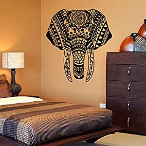 vinyl wandtattoo elefant afrika mandala yoga zen meditation wandaufkleber wandsticker. Black Bedroom Furniture Sets. Home Design Ideas