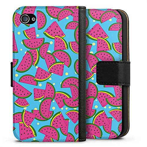 Apple iPhone X Silikon Hülle Case Schutzhülle Wassermelonen Sommer Muster Sideflip Tasche schwarz