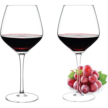 edbeef425cd1 Luxbe - Crystal Wine Glasses, Set of 2 - Large Handcrafted Red or White Wine  Glass - 100% Lead Free Crystal Glass - Professional Wine Tasting - Burgundy  ...