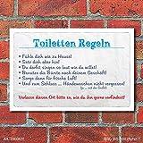 Vintage Schild Retro Deko Toiletten Regeln WC, 300 x 200 mm
