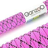 Paracord 550 Seil Magenta | Schwarz | 31 Meter Nylon-Seil mit 7 Kern-Stränge | für Armband | Knüpfen von Hunde-Leine oder Hunde-Halsband zum selber machen | Seil mit 4mm Stärke | Mehrzweck-Seil | Survival-Seil | Parachute Cord belastbar bis 250kg (550lbs) - Marke Ganzoo