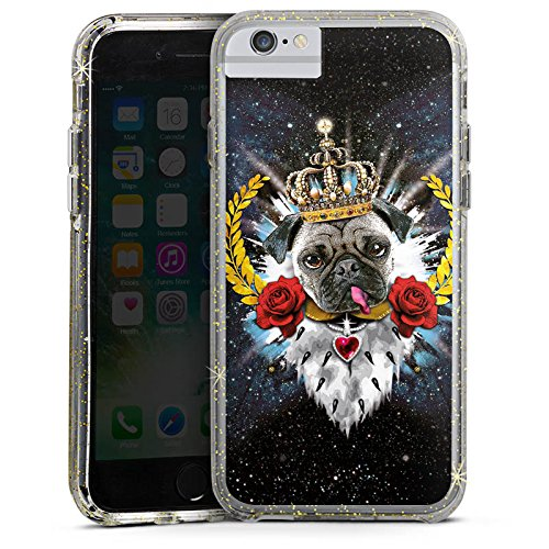 Apple iPhone 7 Bumper Hülle Bumper Case Glitzer Hülle Mops King Zunge Chien Dog Bumper Case Glitzer gold