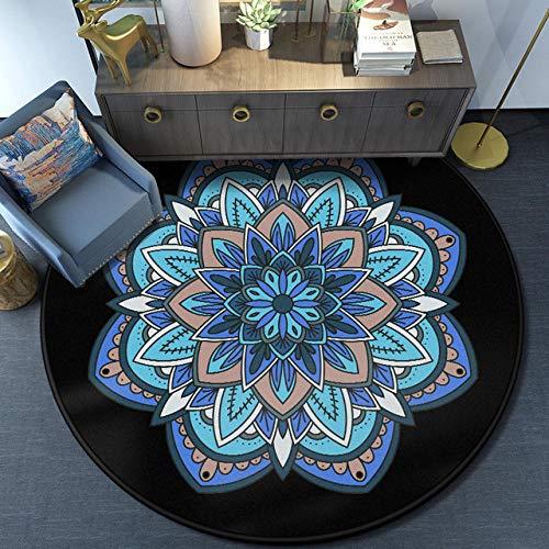 DJkkyl Alfombra Moderna Grande Mesita de Noche Azul con Estampado de Mandala Redonda,Alfombra Decorativa Antideslizante,80×80cm