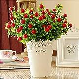 Interesting® Manzanas bayas rojas 1pc pequeño ramo de seda artificial flores de plástico de la etiqueta nupcial