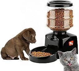 Futterautomat Automatischer Futterspender 5.5L mit Ton-Aufnahmefunktion und LCD-Bildschirm für Hunde und Katzen, Haustier
