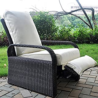 ATR All Weather Wicker Chair Sofa - Adjustable Patio Recliner with Cushions - UV/Fade/Water/Sweat/Rust Resistant - Easy to Assembly (Grey Wicker + Beige Cushion)