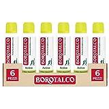 Borotalco, Deodorante Spray Active con Odor Converter, Più Sudi e Più Si Attiva, Profumo di Cedro e Lime, Giallo - 6 Flaconi