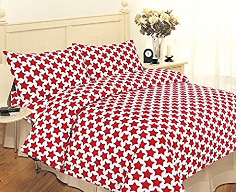 New Luxury Red & White Stars Printed Poly Cotton Duvet Quilt Cover Bedding Set King Size With Matching Pillow Cases