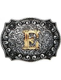 Western-Buckle 3D-Buchstabe E mit echt Goldauflage, Gürtelschnalle