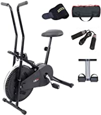 Lifeline Exercise Bike Combo (Black) with Gym Bag, Sweat Belt, Tummy Trimmer and Skipping Rope