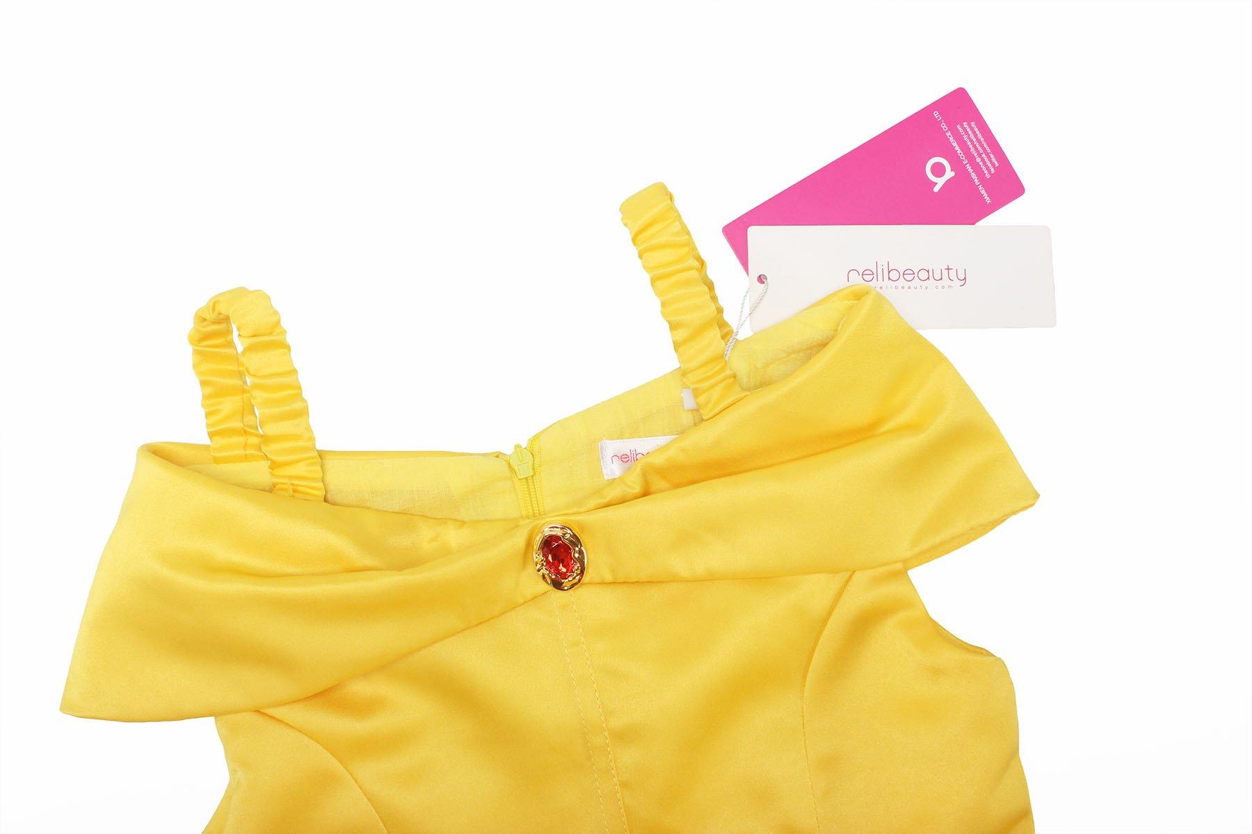 ReliBeauty Girls Dress Belle Cosplay Costume Ragazza Vestiti Abito Principessa Disney Costumi Vestire 3 spesavip
