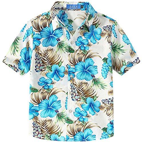 SSLR Jungen Hawaii Hemd Kurzarm Baumwolle 3D Gedruckt Hibiskus Button Down Freizeithemd Aloha Shirts (Medium (9-11Jahren), Weiß) (Medium Hawaii-hemd, Herren)