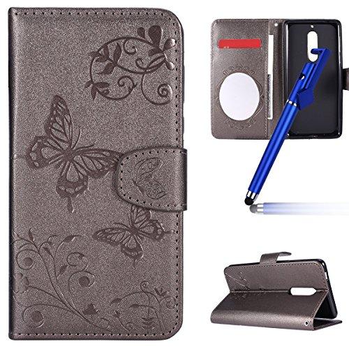 Preisvergleich Produktbild MoreChioce Nokia 5 Hülle,Nokia 5 Leder Flip Case, Grau Schmetterling Relief Spiegel Klapphülle im Bookstyle für Nokia 5 Protective Brieftasche Magnetische mit Standfunktion