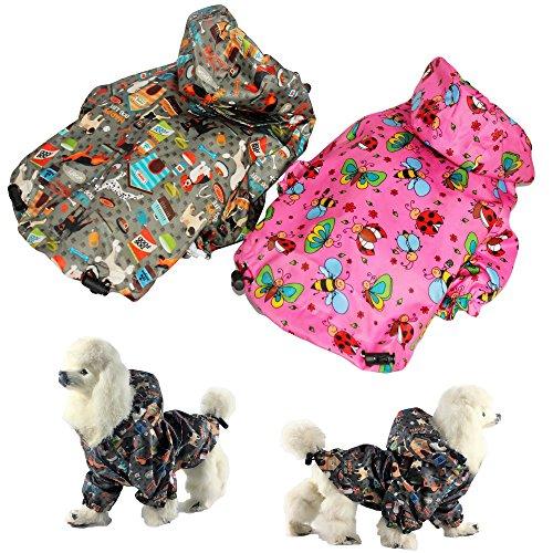FunnyDogClothes Kleine Haustiere Katze Hunde Regenmantel Hoodie Coat Wasserdicht Regen Jacke reinwear, L: Length - 16