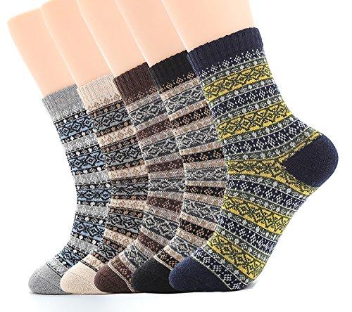 Crew Seide Crew Socken (Ueither 5 Paar Unisex Wollsocken - Baumwollsocken - Stricksocken | für Männer & Frauen | Vintage Stil | Warme Crew Socken für Herbst & Winter (Schuhgröße:38-44, Farbe 3))