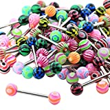 20pcs Colorful Body Piercing Jewelry Tongue Nail Lip Eyebrow Nose Ring Stainless Steel
