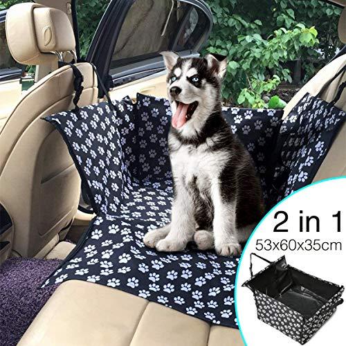 Chusstang Hunde Autositz für Kleine Mittlere Hunde, 2 in 1 Sitzbezug des Autos Rückbank & Vordersitz Hundesitz, Wasserdicht Autositzbezug mit Verstärkte Wände, Extrem Langlebig