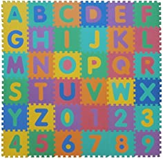 VeloVendo - Tappeto Puzzle Lettere & Numeri in soffice Schiuma EVA | Tappeto da Gioco per Bambini | Tappetino Puzzle