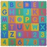 VeloVendo® Puzzle-Spielmatte | Verzahnte Puzzle Quadrate fördern die visuelle-sensorische Entwicklung | Sanfte Baby-Bodenmatte | TÜV Rheinland geprüft (Buchstaben + Zahlen)