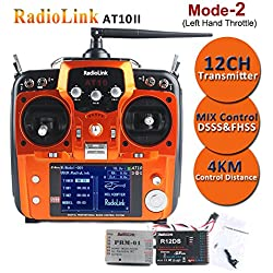 Radiolink AT10II Transmisor (12 Channels, Support S-BUS PPM PWM, 3MS Response, 4KM Control Distance) con R12DS Receiver for FPV Racing RC Drone Quadcopter by LITEBEE (MODE-2 Left Hand Throttle)