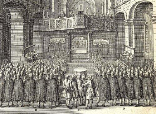 Religione Cristianesimo: Protestantesimo cerimonia C16-XVII Secolo by Bernard Picart Riproduzione poster su 200g/mq, formato A3in satin di seta basso su carta