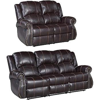 Mecor Sofa Sets 2 3 Seats Leather Recliner Sofa Suite Amazon Co Uk