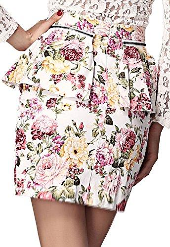 Cfanny femmes Motif Floral Multicolore Wardrobe Jupe plissée Blanc - Ivoire