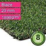 Kunstrasen Rasenteppich Blaze für Garten - Florhöhe 20 mm - Gewicht ca. 1898 g/m² - UV-Garantie 8 Jahre (DIN 53387) - 2,00 m x 2,50 m | Rollrasen | Kunststoffrasen
